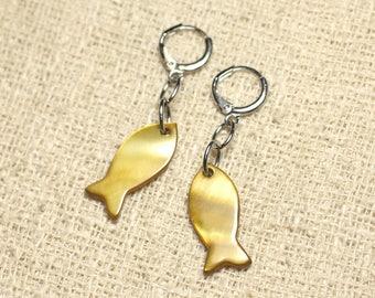 Fish 23mm Golden Bronze Pearl Earrings