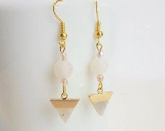 Gold triangle white labradorite pendant gold plated hook earrings