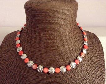 Coral Pearl Necklace silver metal discs