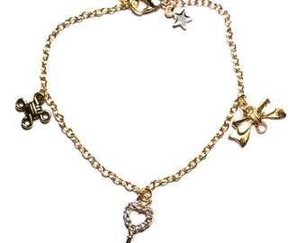 "Bracelet gold color ""Rhinestones key"""