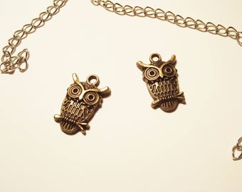 "2 ""OWL"" charms bronze"