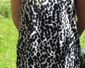 Black and white leopard print fluid cotton tank top