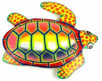 Hand Painted Metal Turtle Sunset Design