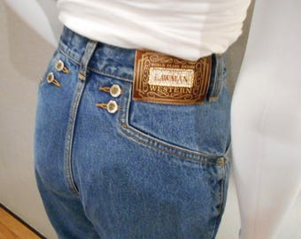 Mom Jeans/waist 26/ 90s jeans cowgirl jeans tapered leg high waisted Lawman Jeans