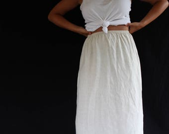 tan linen midi skirt