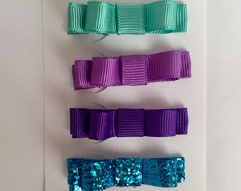 Set of 4 little mermaid hair bows, clips