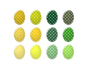 Digital bottle cap images - Yellow  and green polka dot images - Ovals - Bottle cap jewelry patterns - Digital images