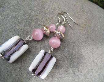 Earrings glass beads and pink cat eye