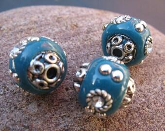 1 Pearl blue Fimo and Indonesian Kashmiri Metal