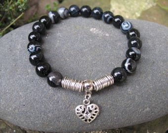 Heart and black agate Beads Bracelet