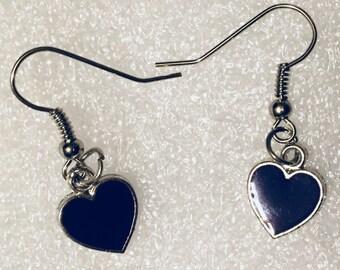 Heart earrings, purple heart earrings, earrings, heart drop earrings, enamel heart earrings, gift for her, earrings for her, jewellery gift