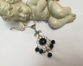 Antique Agate and Onyx silver necklace