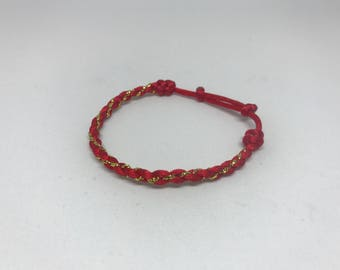 Adjustable Red and Gold Braided Bracelet One Size