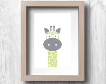 Green Giraffe - Printable Wall Art
