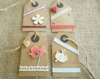 Set of 4 gift tags, handmade, different sets (8)