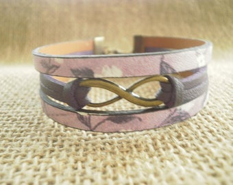 "Bracelet made of suede and faux leather, purple and purple ""Infinity"" charm"