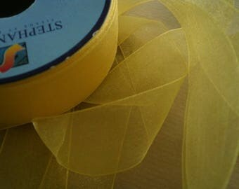 Two meters of chiffon Ribbon polyester, yellow color, width 25 mm