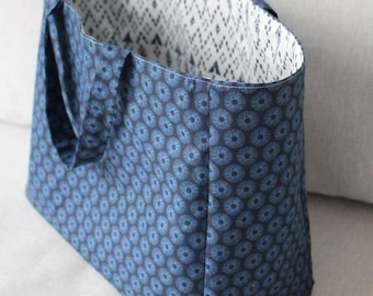 Lined in blue cloth bag