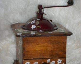 Vintage - very old coffee grinder-painted: pretty little white flowers