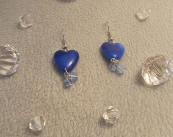 "Earrings ""blue heart"" creat ' Y. O.N"