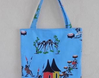 Bag, tote bag, vintage Blue African fabric
