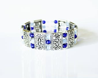 Blue glass beads and Tibetan silver with memory Wire Bracelet