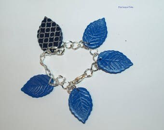 Silver and blue leaves bracelet fall inspiration bucolic