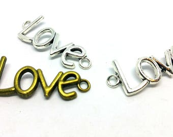 Charm / connector - Love Heart romantic - Bronze or silver metal