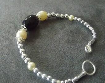 Pretty black pearl bracelet, white and silver