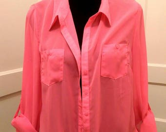 Brand New Sheer Hot Pink Tie-Up Button-Up Blouse