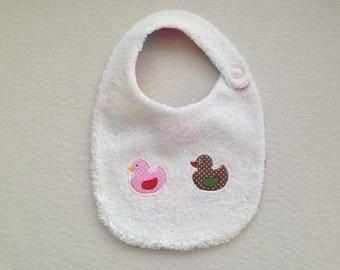 """Newborn bib applied """"Duckling"""" cotton"""