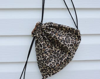 Cheetah print drawstring sack