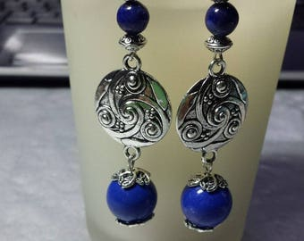 Large genuine lapis lazuli earrings