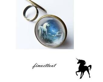 pretty cabochon glass Unicorn in the Moonlight