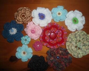 Set of crochet flowers handmade 23