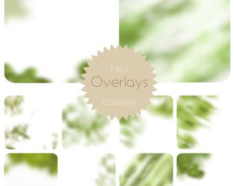 10 green level-1 psd overlays leaves, bushes trees blurred