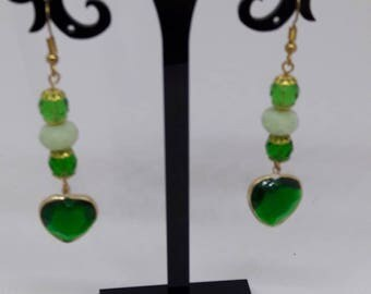 earrings with green beads