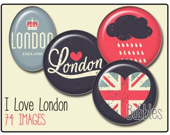 London Printable Images Digital Collage Sheet for Jewelry Making - London Digital collage sheets