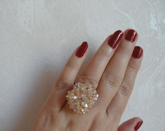 Ring Madame Dupont Golden Shadow Swarovski Crystal beads