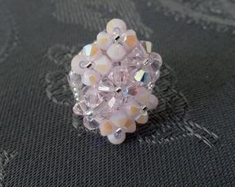 Ring Diamond 7 pink flowers with Swarovski Crystal beads