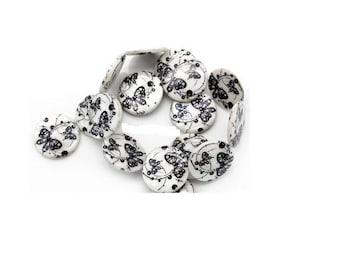 Set of 4 flat Butterfly motif shell beads
