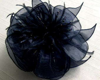 Blue organza flower brooch, black feathers and beads