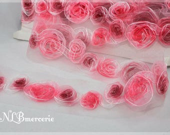 Stripe pink, embroidered organza 70 mm 1.66 Coupon m