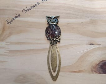 Bronze clip bookmark, OWL and feathers