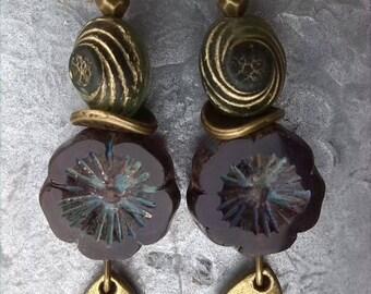 """Earrings """"Bohemian floral"""" Purple/plum/purple"""