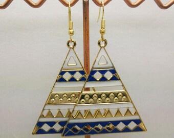 lovely blue enamel triangle earrings
