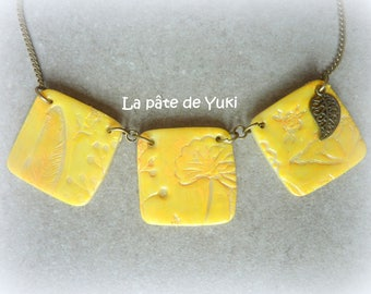 Orange yellow square necklace embossed handmade polymer clay