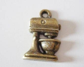 5 x coffee/mixer Machine charms - silver metal