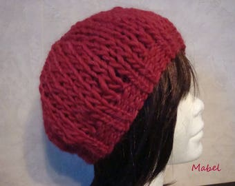 Hat Red chunky knit, Merino and alpaca knit, warm, soft