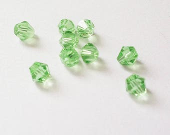 set of 20 beads, Crystal, light green, 4mm bicone